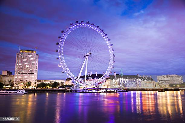 London Eye City Skyline Mirroring in River Thames at Night