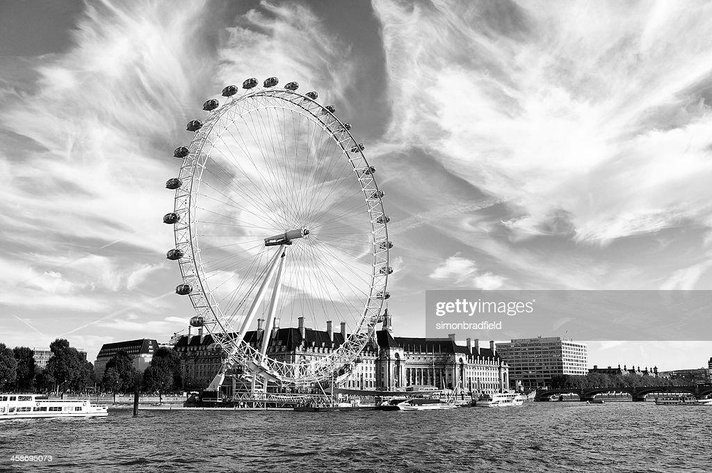 London Eye In Black White Stock Photo