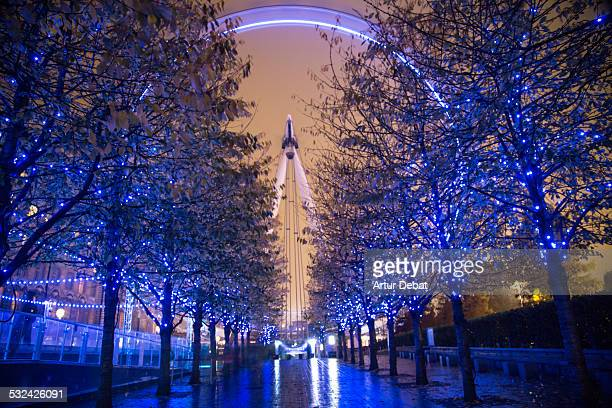 London Eye long exposure at night with blue colors