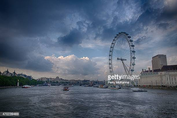 London Eye over the Thames River