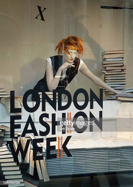 London Fashion Week window display in Harvey Nichols' flagship Knightsbridge store on September 17 2010 in London