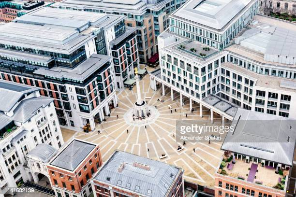 london financial district aerial view, england, uk - european culture stock pictures, royalty-free photos & images