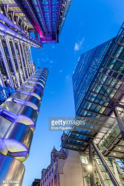 London Financial District Buildings at dusk