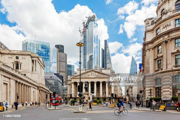 london financial district with royal exchange and bank of england - central london stock pictures, royalty-free photos & images