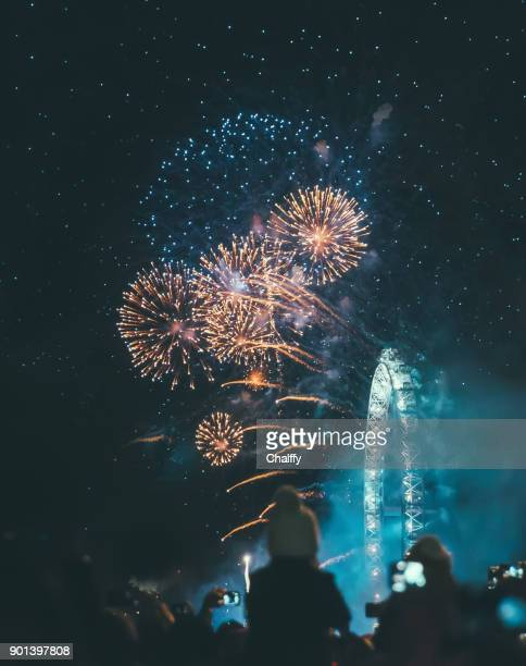 london fireworks - firework display stock photos and pictures