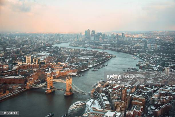 london from above - river thames stock pictures, royalty-free photos & images
