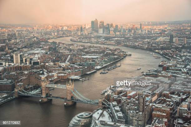 london from above - tower bridge stock photos and pictures