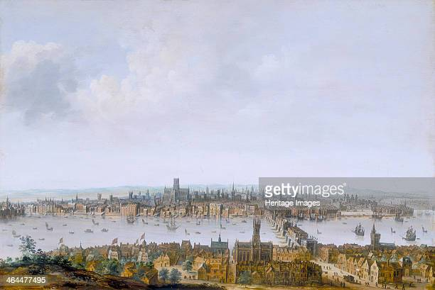 'London from Southwark' c1630 View of London with the old St Paul's Cathedral and the old London Bridge which has traitors' heads on pikes above the...
