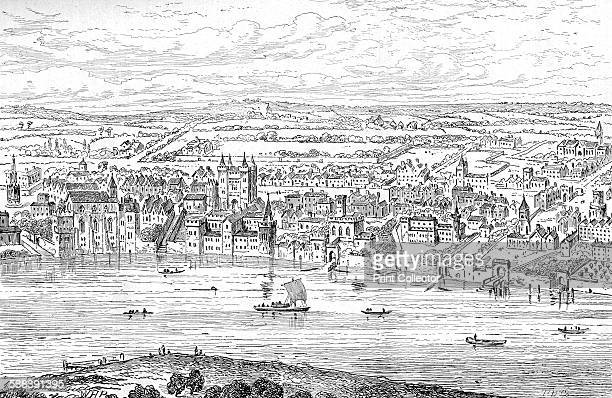 London from Temple Bar to Charing Cross, 1543 . Part of a panaramic view of London. From Old and New London Vol III by Edward Walford. .