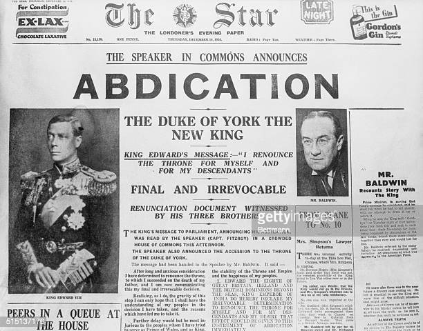 London: Front page of the London Star, with stories of King Edward's abdication and York's accession to the throne.