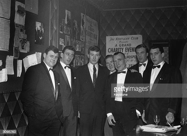 London gangster twins Ronald and Reginald Kray with their brother Charles at the Kentucky Club after the Premiere of 'Sparrows Can't Sing'