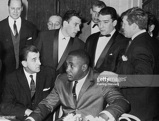 London gangsters the Kray twins Reggie and Ronnie with American heavyweight boxer Sonny Liston circa 1965