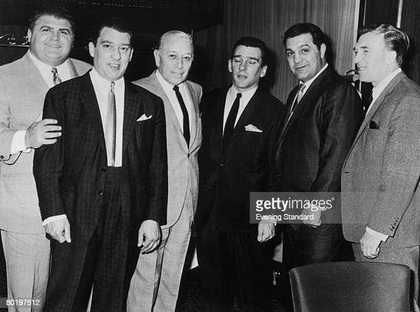 London gangsters the Kray twins Ronnie and Reggie with their brother Charlie and friends American actor George Raft and American former boxer Rocky...