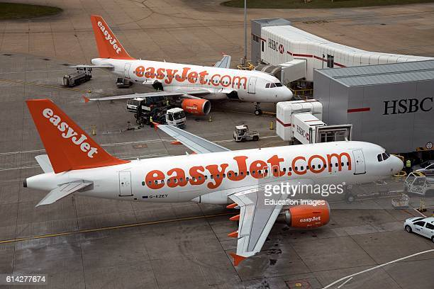 London Gatwick Airport Passenger Jets on the Stand.