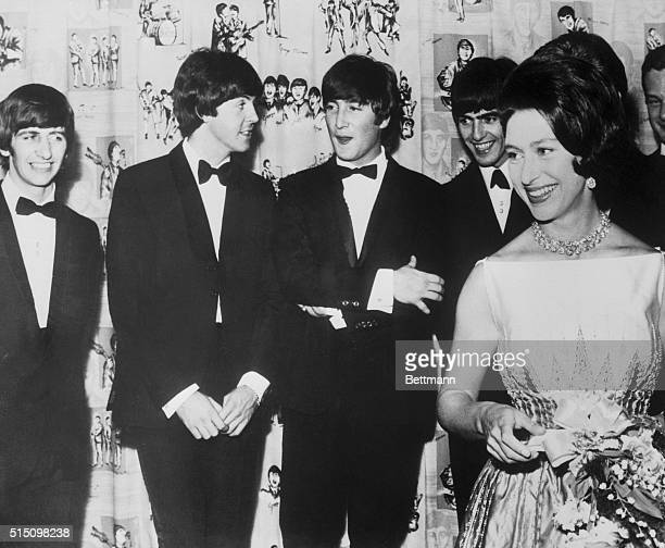 London: Girl: Lady Snowdon, formerly Mrs. Margaret Armstrong Jones. Boys: Messrs. Starr, McCartney, Lennon and Harrison. Scene: A London cine,a for...