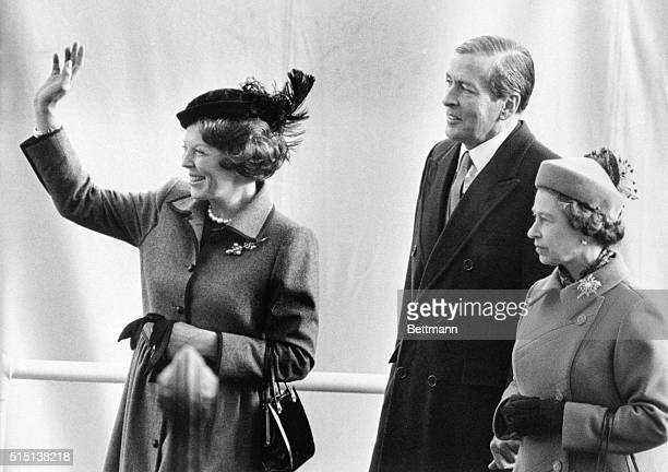H M Queen Beatrix of the Netherlands waves to the waiting crowds on her arrival with prince Claus 11/16 at Westminster Pier London where the royal...