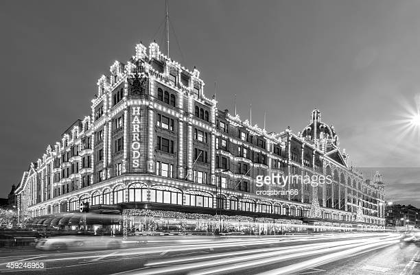 London, Harrods department stores at night in black & white
