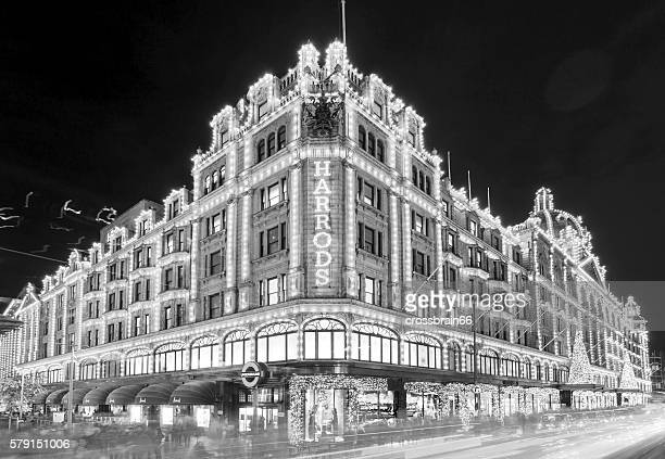 London Harrods Department Stores At Night In Black White