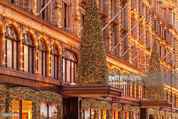 London, Harrods stores facade with Christmas time