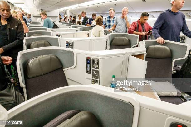 London Heathrow Airport, American Airlines business class seating, deplaning.