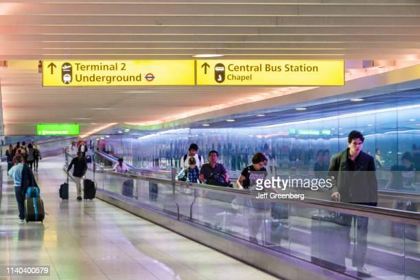 London, Heathrow Airport, moving walkway.