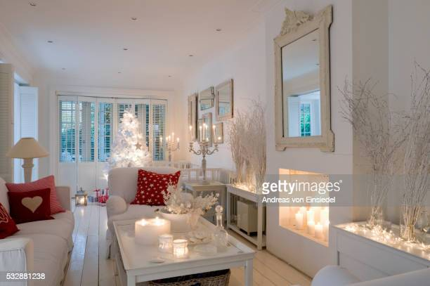 London home decorated for Christmas in white and red