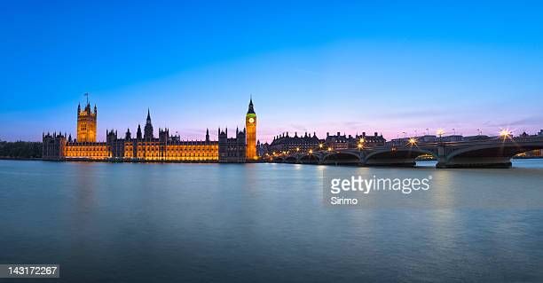 London Houses of Parliament Panorama at Dusk