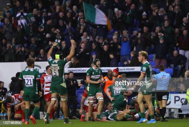 London Irish celebrate winning at the final whistle during the Gallagher Premiership Rugby match between London Irish and Gloucester Rugby at on...