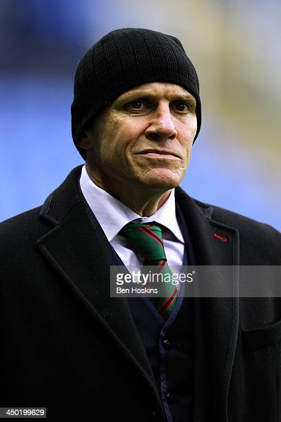 London Irish head coach Brian Smith looks on ahead of the LV= Cup match between London Irish and Northampton Saints at Madejski Stadium on November...