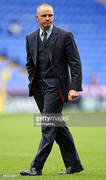 London Irish head coach Brian Smith looks on prior to the Aviva Premiership match between London Irish and Exeter Chiefs at Madejski Stadium on...