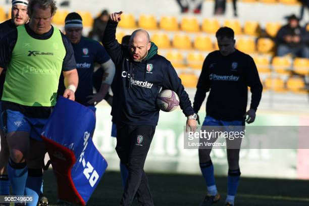 London Irish players warm up before the European Rugby Challenge Cup match between Krasny Yar and London Irish at Avchala Stadium on January 20 2018...