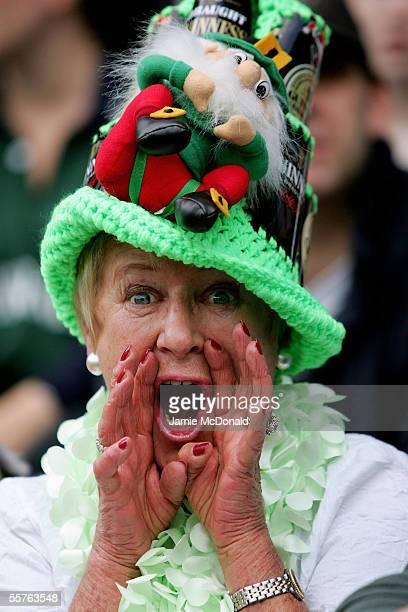 London Irish supporter shouts for her team during the Guinness Premiership match between London Irish and Bristol at The Madejeski Stadium on...