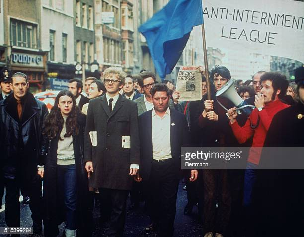 Irishmen Protest Fiery Ulster girl M P Bernadette Devlin begins a campaign to disrupt London traffic and business by leading a procession of Irish...