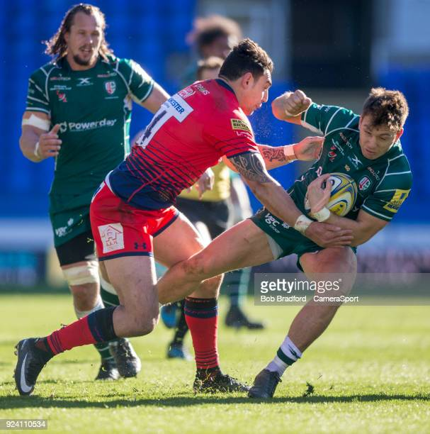 London Irish's Alex Lewington is tackled by Worcester Warriors' Bryce Heem during the Aviva Premiership match between London Irish and Worcester...