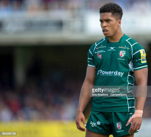 London Irish's Ben Loader during the Aviva Premiership match between Bath Rugby and London Irish at Recreation Ground on May 5 2018 in Bath England