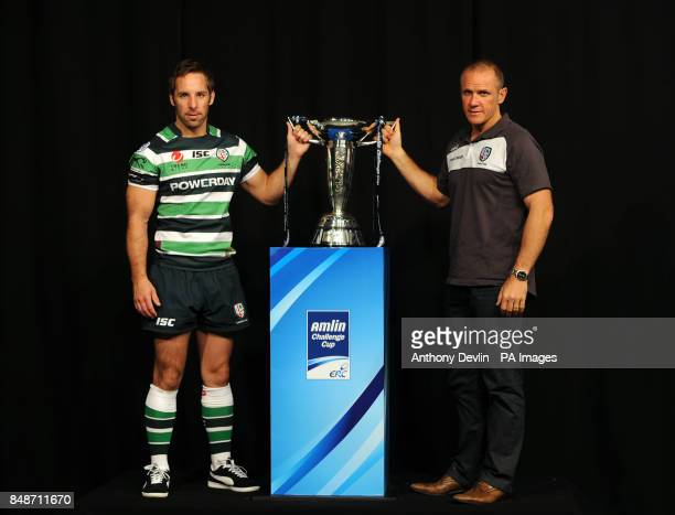 London Irish's captain Tomas O'Leary and coach Brian Smith pose during the launch of the Heineken Cup and Amlin Challenge Cup season launch at Sky...
