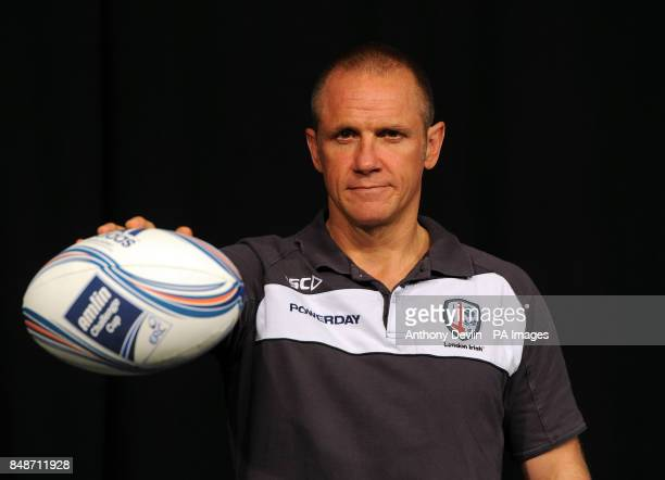 London Irish's coach Brian Smith poses during the launch of the Heineken Cup and Amlin Challenge Cup season launch at Sky news studios London