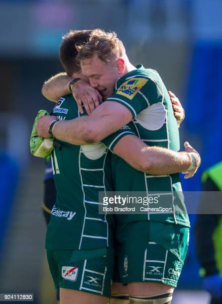 London Irish's Conor Gilsenan and Alex Lewington congratulate each other on a win during the Aviva Premiership match between London Irish and...
