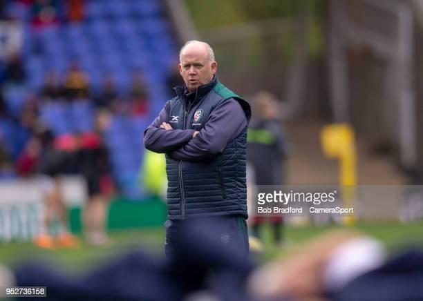 London Irish's Head Coach Declan Kidney during the Aviva Premiership match between London Irish and Saracens at Madejski Stadium on April 29 2018 in...