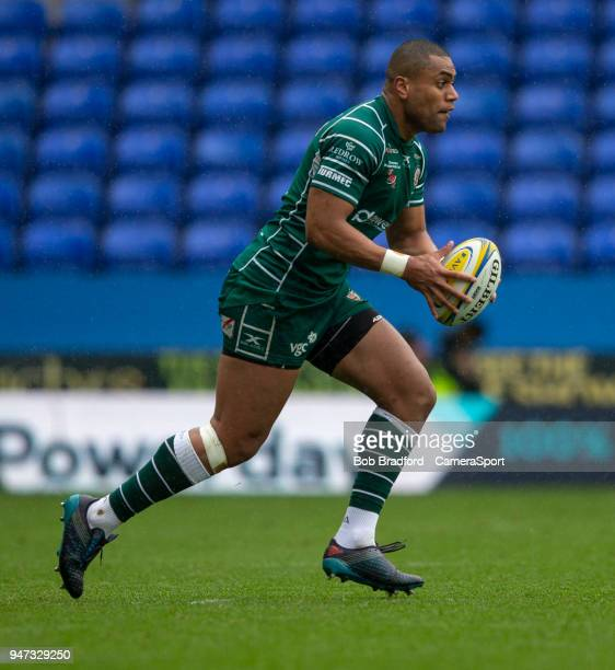 London Irish's Joe Cokanasiga during the Aviva Premiership match between London Irish and Exeter Chiefs at Madejski Stadium on April 15 2018 in...
