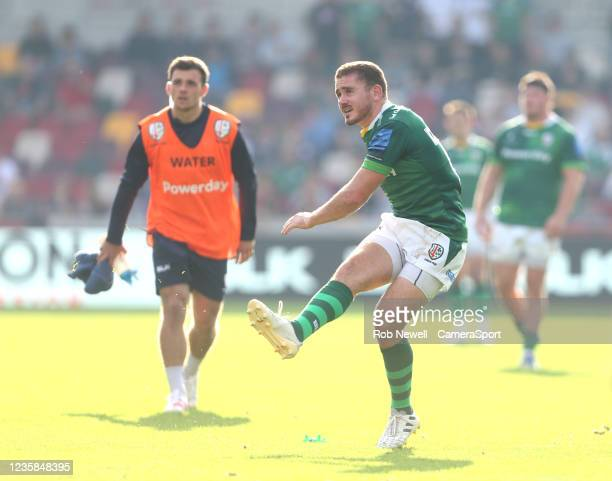 London Irish's Paddy Jackson during the Gallagher Premiership Rugby match between London Irish and Leicester Tigers at Brentford Community Stadium on...