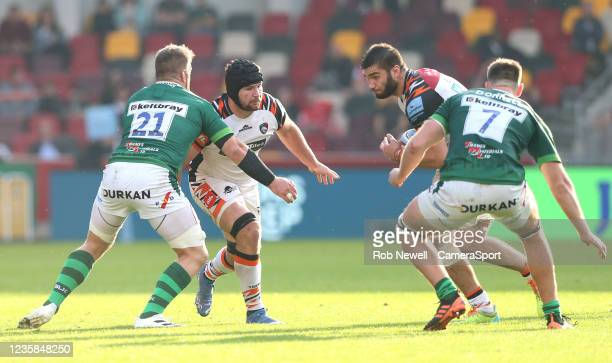 London Irish's Sean O'Brien and Ben Donnell try to stop Leicester Tigers's George Martin and Marco van Staden during the Gallagher Premiership Rugby...