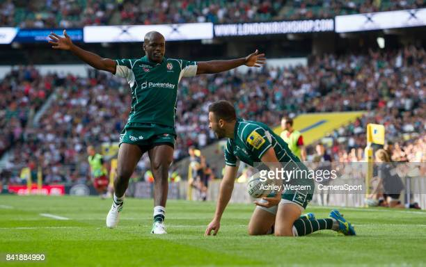London Irish's Tommy Bell scores his sides second try during the Aviva Premiership match between London Irish and Harlequins at Twickenham Stadium on...