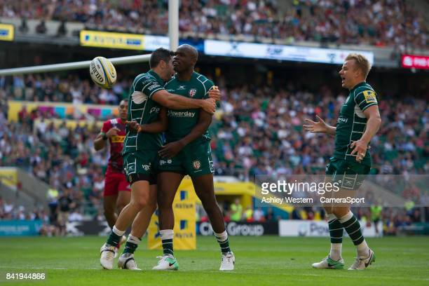 London Irish's Topsy Ojo celebrates scoring his sides first try during the Aviva Premiership match between London Irish and Harlequins at Twickenham...