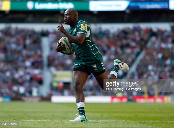 London Irish's Topsy Ojo scores his side's first try during the Aviva Premiership match at Twickenham Stadium London
