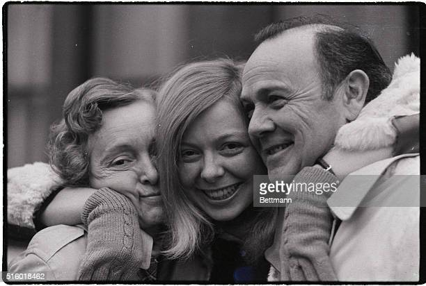 Joyce McKinney girl at centre of the Mormon case with her mother and father in London 12/7 She was released on bail 12/6 after 11 weeks in Holloway...