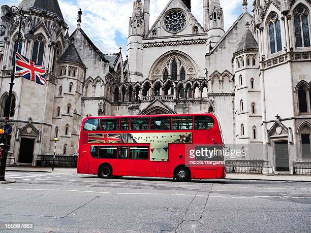 london:  jubilee bus and union jack - double decker bus stock pictures, royalty-free photos & images