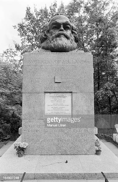 London June 11 Karl Marx's grave in Highgate cemetery with his statue