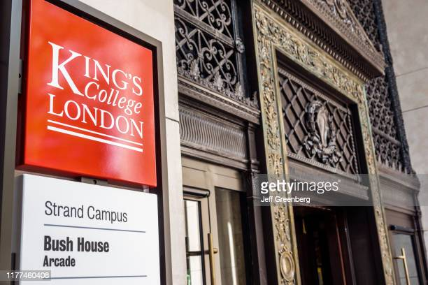 London, King's College, Bush House Arcade, exterior and sign.