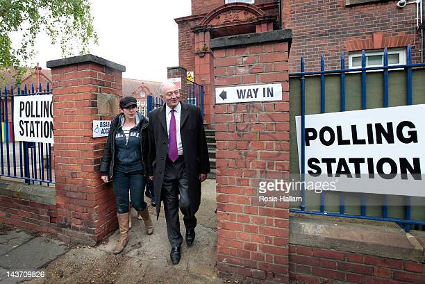 London Labour Mayoral candidate Ken Livingstone leaves with his wife Emma Beal after casting his vote in the London Mayoral and local elections at...